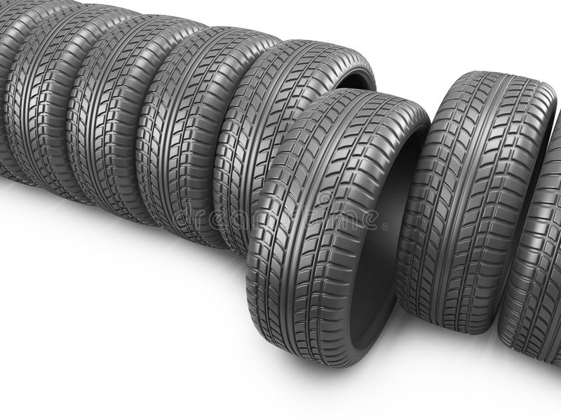 Rubber gummihjul. Hjul 3D, symbol  royaltyfri illustrationer