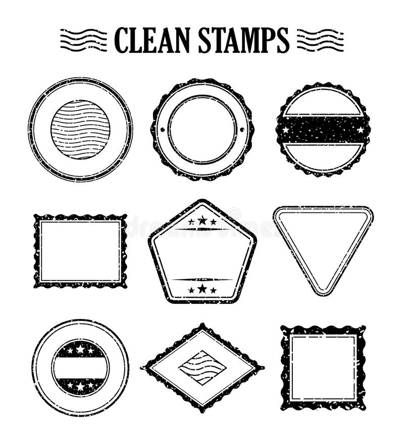 Rubber ink stamp set. Postage and mail delivery stock illustration