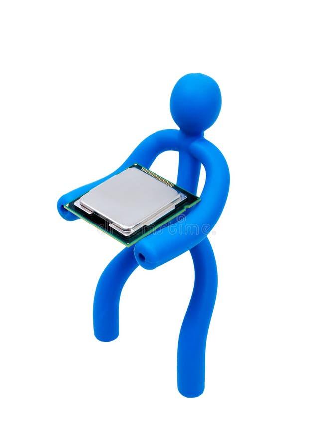 Rubber man med en processor som isoleras på vit bakgrund