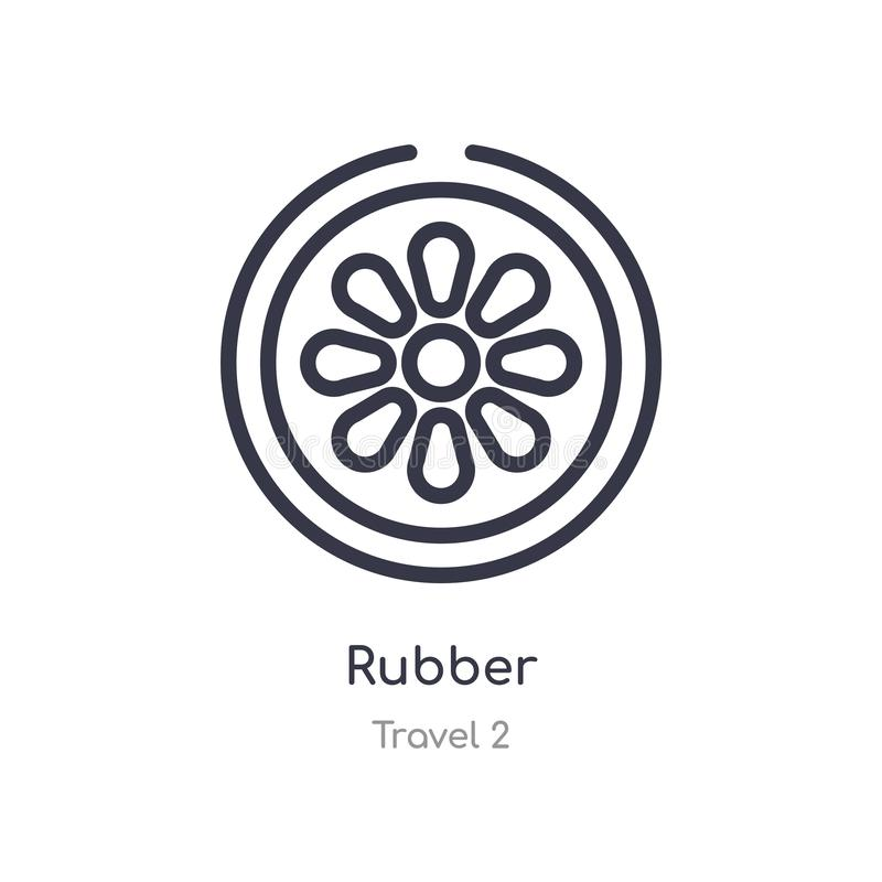 Rubber outline icon. isolated line vector illustration from travel 2 collection. editable thin stroke rubber icon on white. Background royalty free illustration
