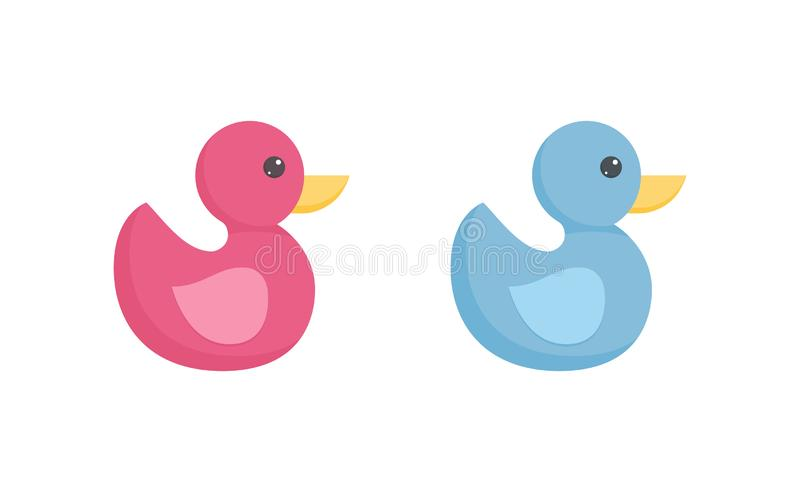 Rubber or plastic duck toy for toddler bathing in flat style isolated on white background. Rubber or plastic duck toy for toddler bathing in flat style isolated vector illustration