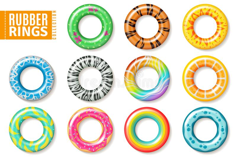 Rubber rings. Swimming inflatable kids toys, float colorful lifesaver ring. Realistic vector set. Rubber rings. Swimming inflatable float pool kids buoy toys stock illustration