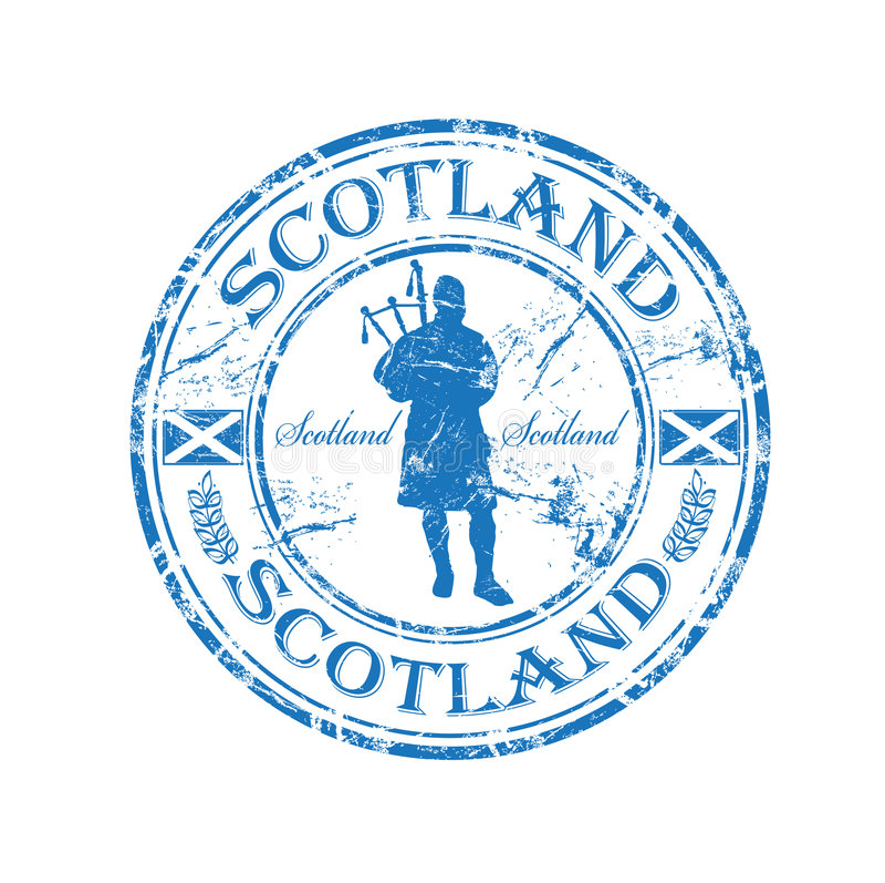 rubber scotland stämpel stock illustrationer
