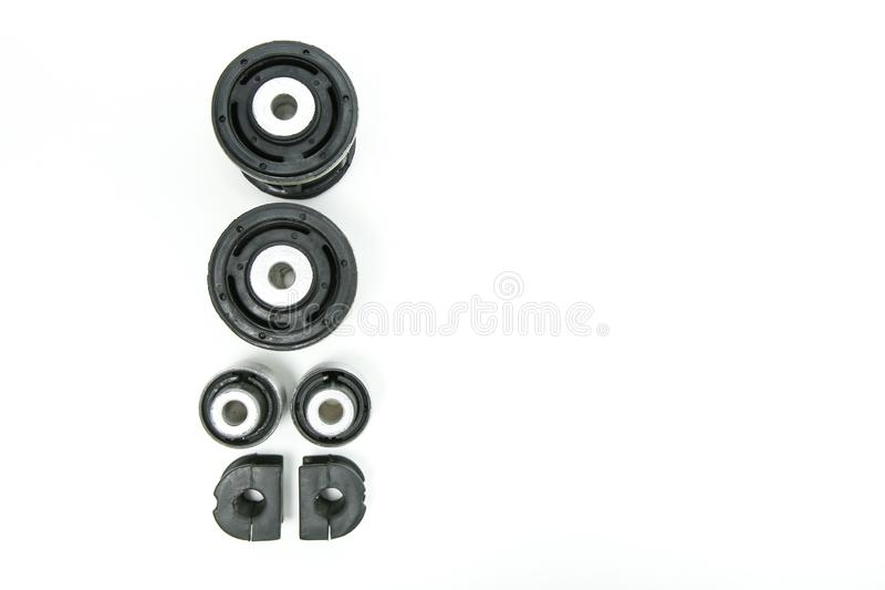 Rubber silent blocks on white background with copy space royalty free stock photo