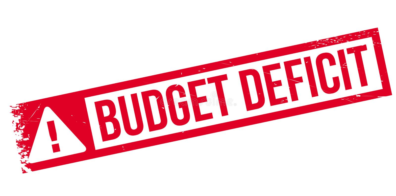 Rubber stämpel för budgetunderskott vektor illustrationer