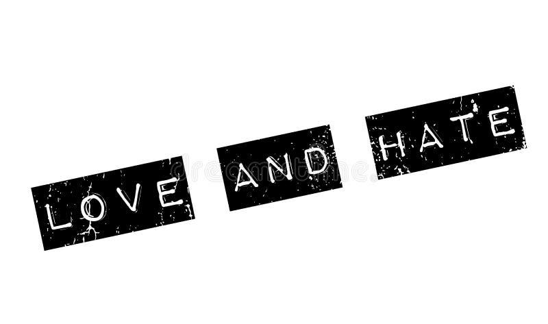 Rubber stämpel för förälskelse och för hat stock illustrationer
