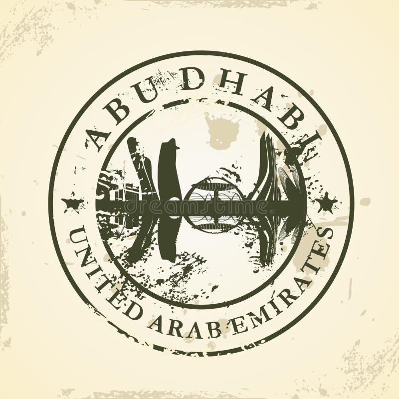 Rubber stämpel för Grunge med Abu Dhabi, UAE stock illustrationer
