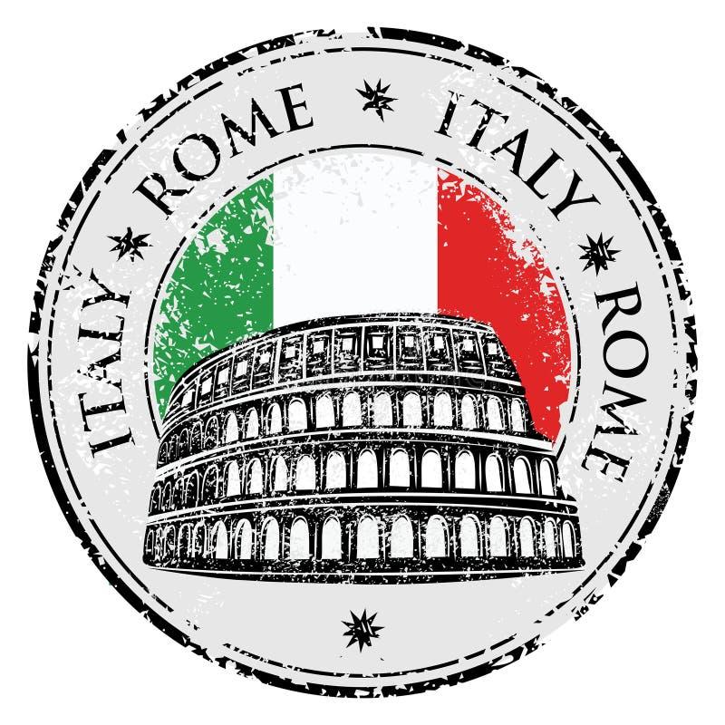 Rubber stämpel för Grunge med Colosseum och ordet Rome, Italien inom, vektor stock illustrationer