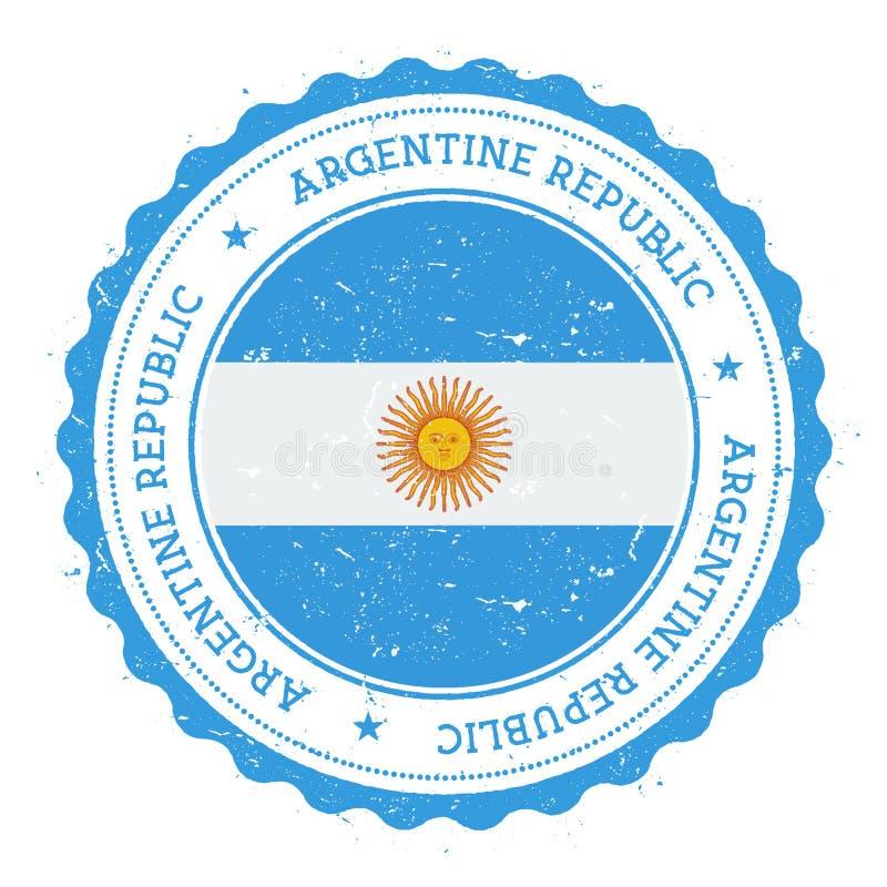 Rubber stämpel för Grunge med den Argentina flaggan stock illustrationer