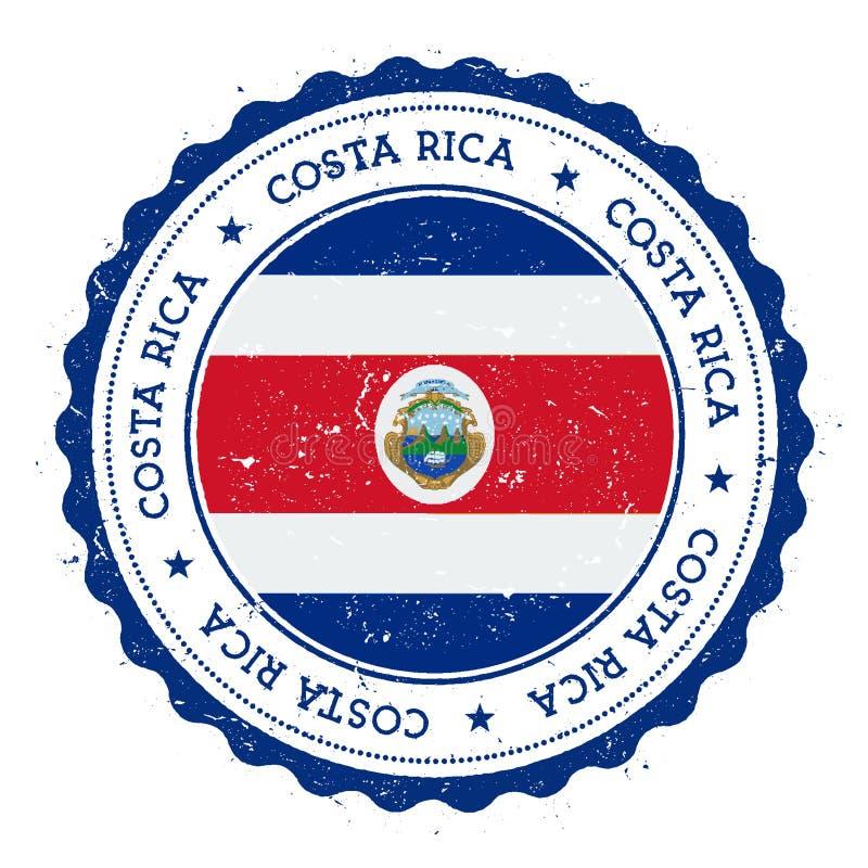 Rubber stämpel för Grunge med den Costa Rica flaggan vektor illustrationer