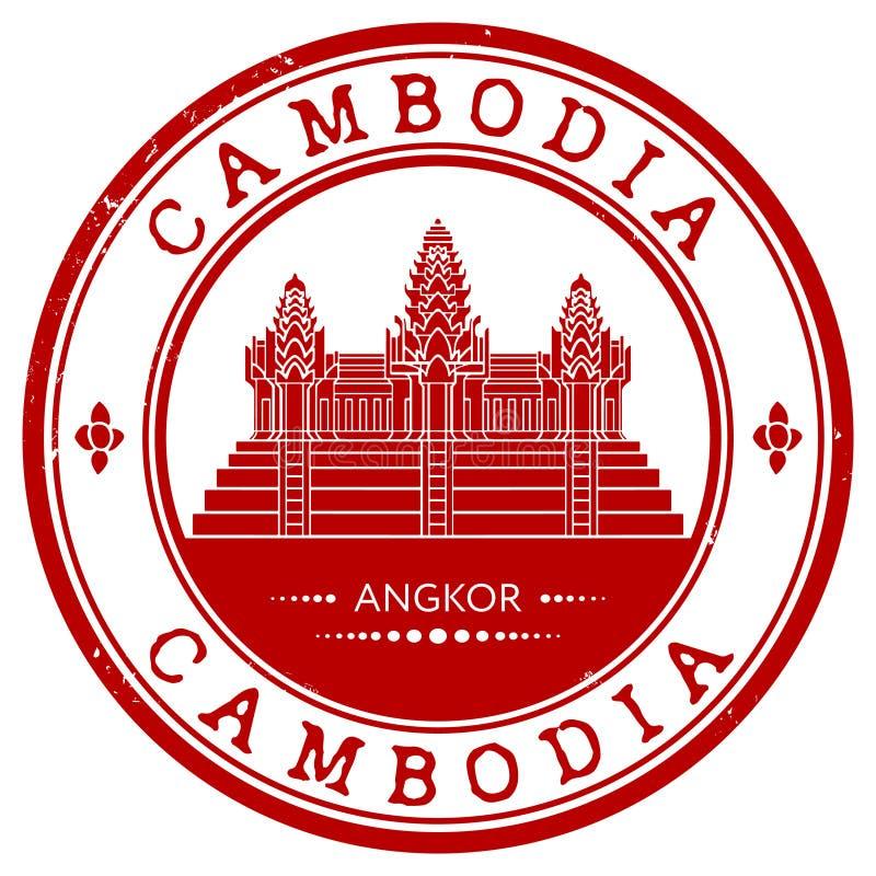 Rubber stämpel för Grunge med namnet av Cambodja vektor illustrationer