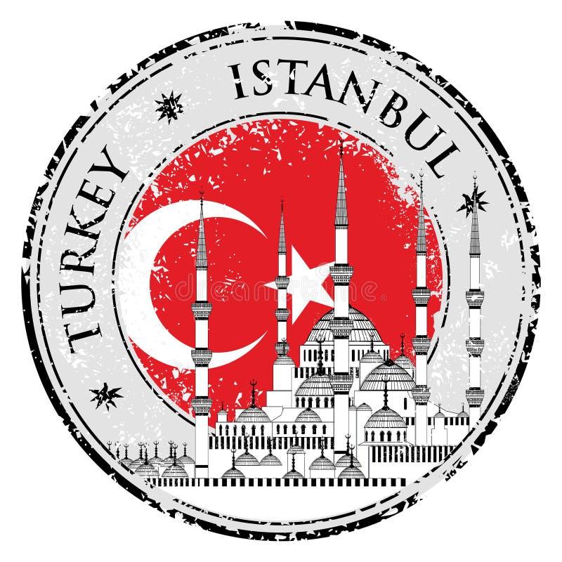 Rubber stämpel för Grunge med ord Istanbul, Turkiet, vektorillustration stock illustrationer