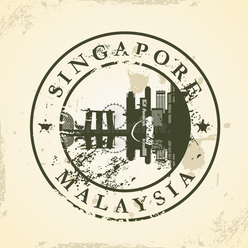 Rubber stämpel för Grunge med Singapore, Malaysia vektor illustrationer