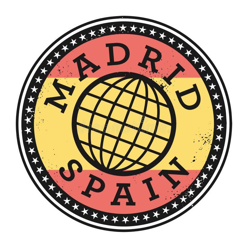 Rubber stämpel för Grunge med texten Madrid, Spanien vektor illustrationer
