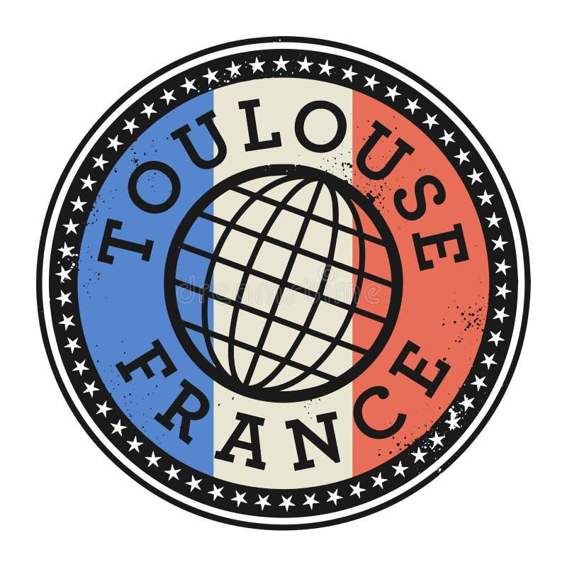 Rubber stämpel för Grunge med texten Toulouse, Frankrike vektor illustrationer