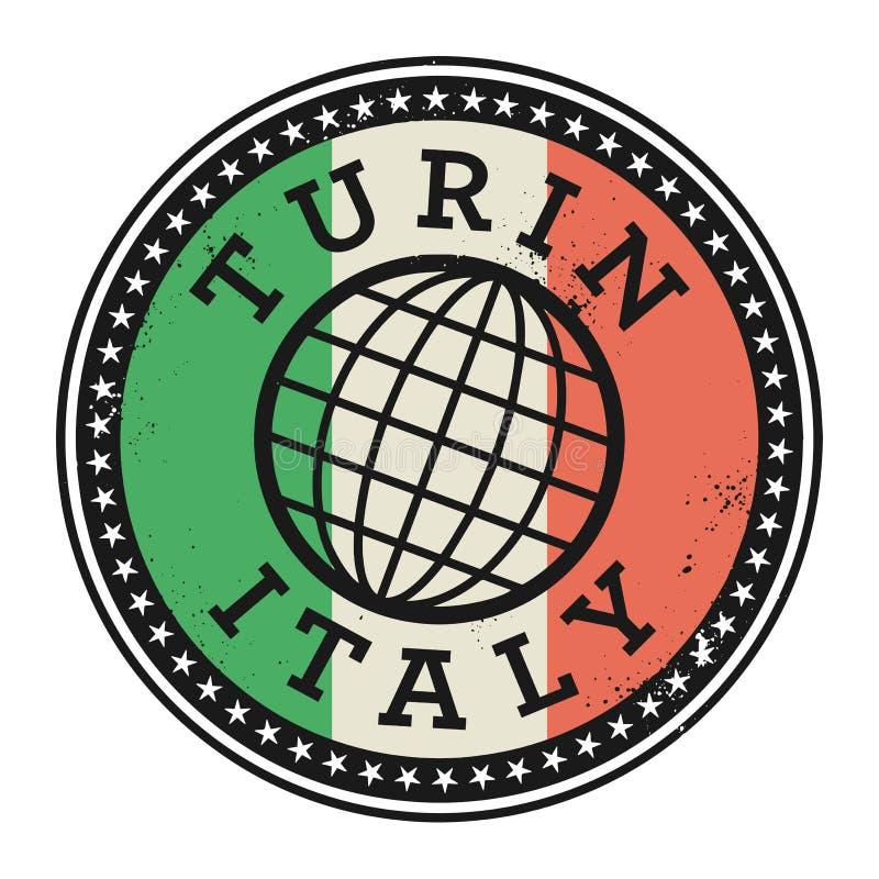Rubber stämpel för Grunge med texten Turin, Italien vektor illustrationer