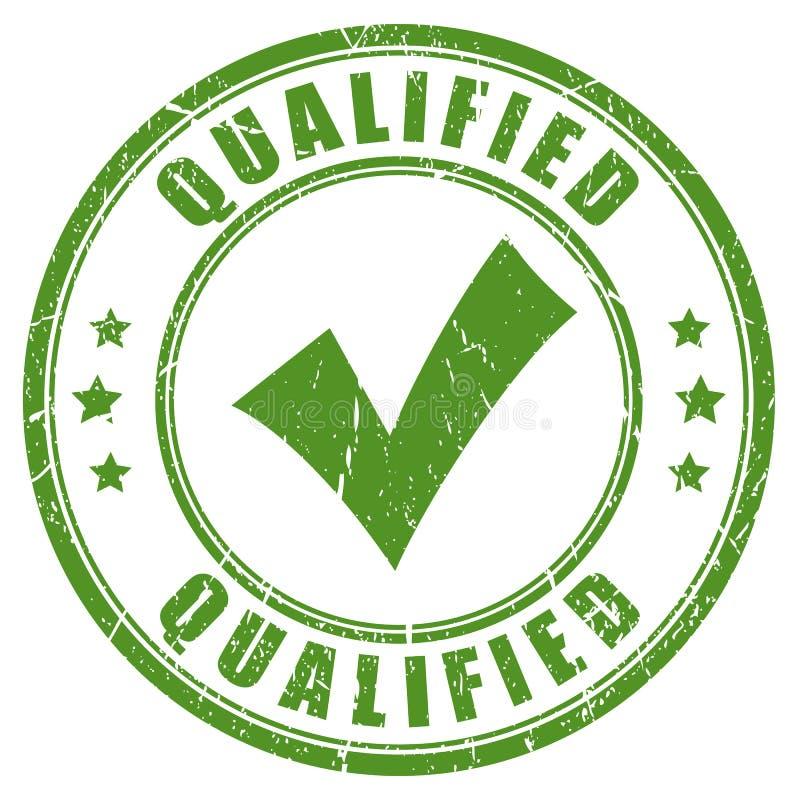 Rubber stämpel för kvalificerad grön fästing stock illustrationer