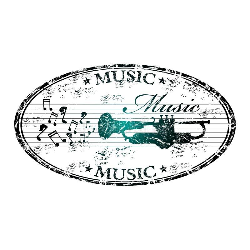 rubber stämpel för musik royaltyfri illustrationer