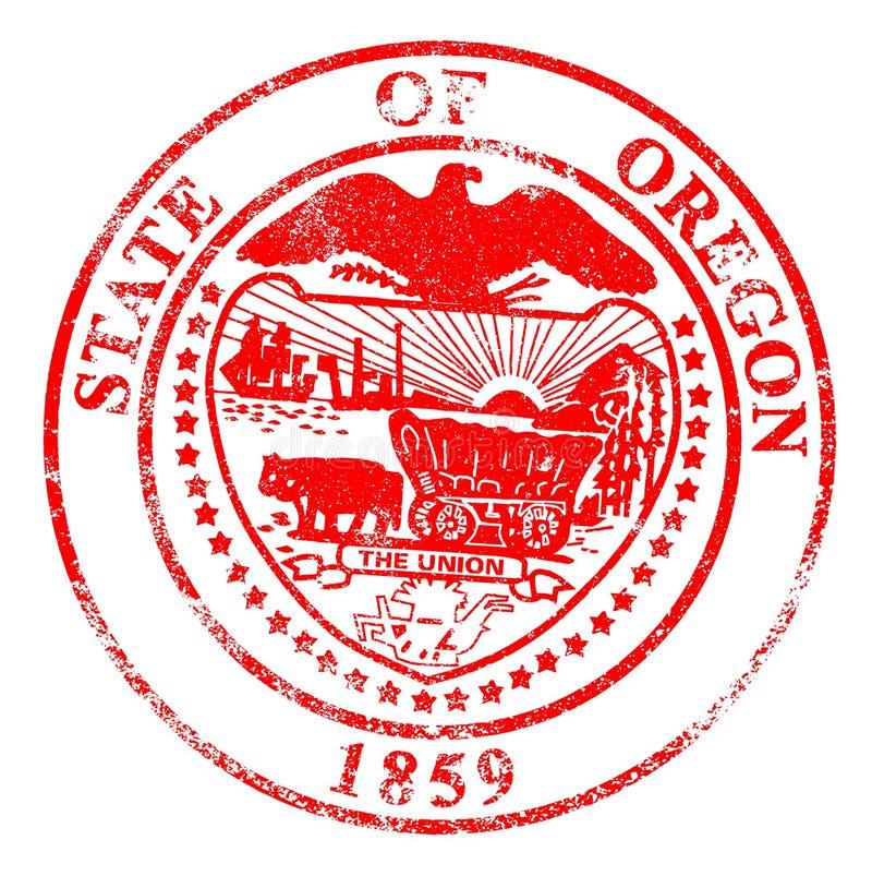 Rubber stämpel för Oregon skyddsremsa stock illustrationer