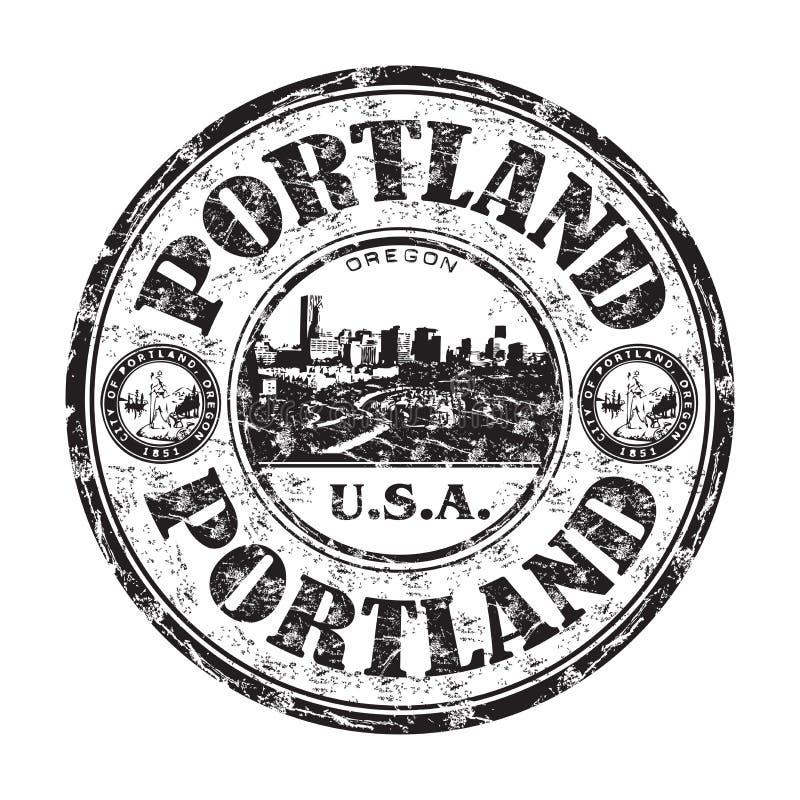 Rubber stämpel för Portland grunge stock illustrationer