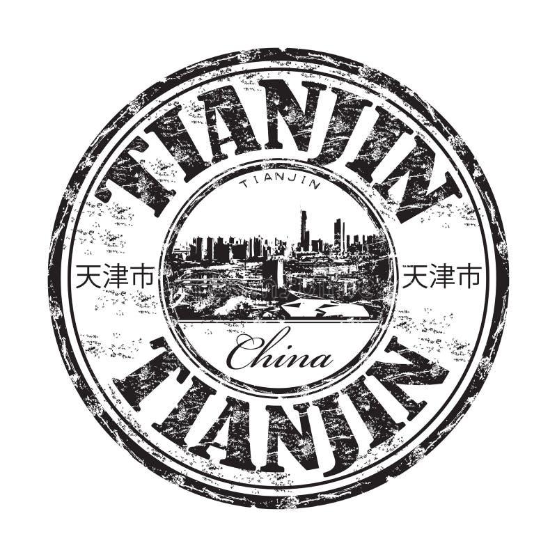 Rubber Stämpel För Tianjin Grunge Royaltyfri Fotografi