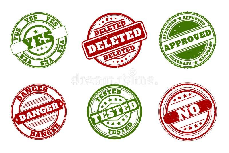 rubber stämplar för grunge Godkänt och borttaget, ja inget Testad eller för fara grön röd vektor royaltyfri illustrationer