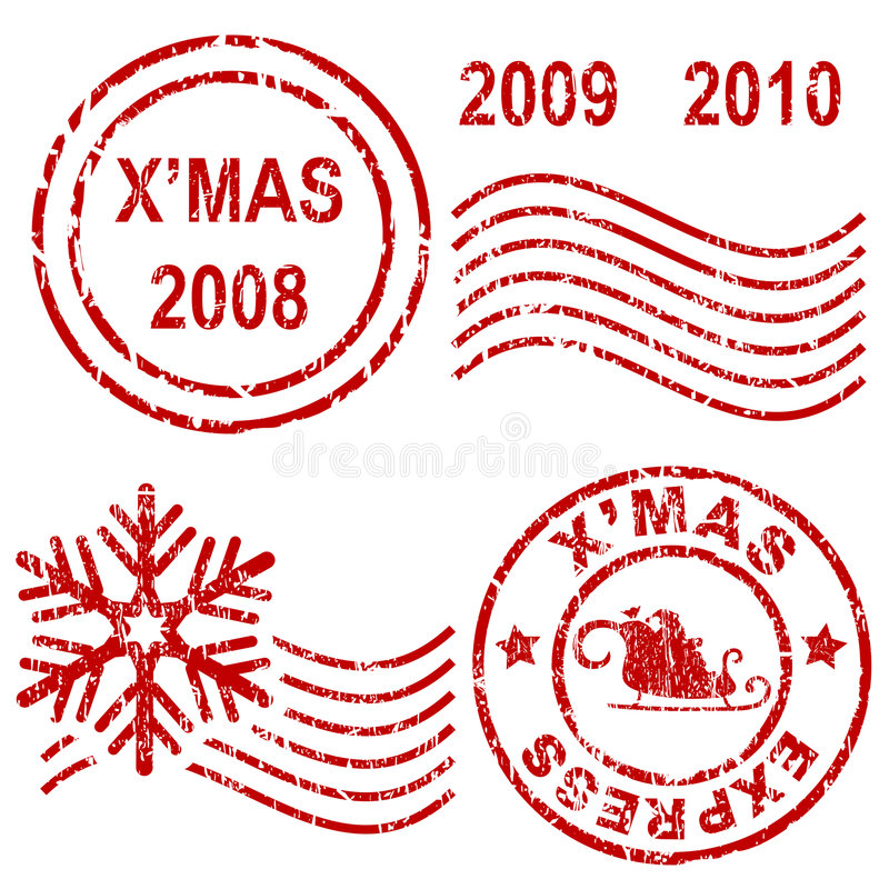 rubber stämplar för jul vektor illustrationer