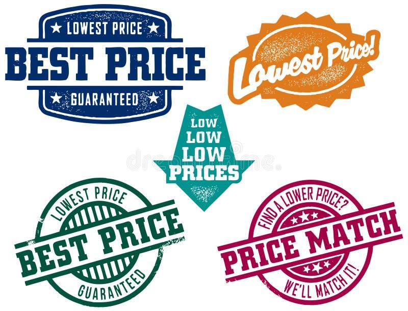 rubber stämplar för lägst pris royaltyfri illustrationer