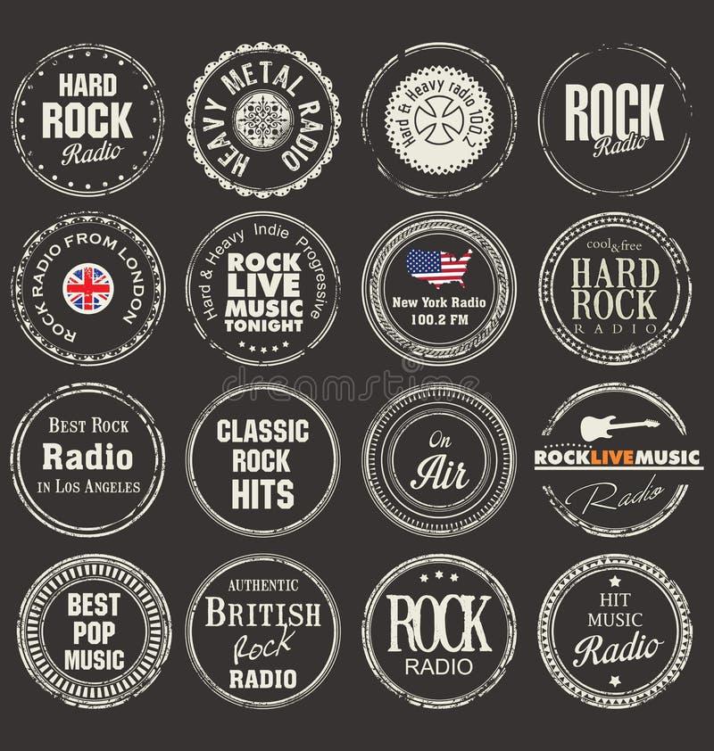 Rubber stämplar för musikgrunge royaltyfri illustrationer