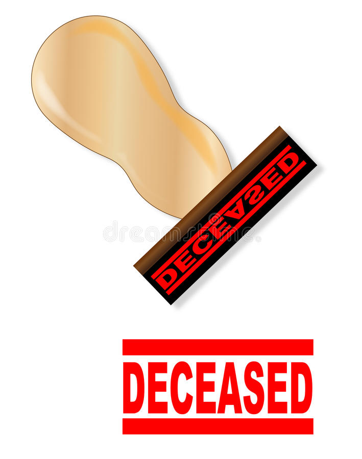Rubber Stamp And Handle Deceased. A ribber stamp with handle and the mark deceased in red ink over a white background vector illustration