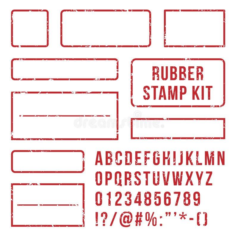 Rubber stamp letters. Red stamps frame and letterpress symbols with font numbers. Marks kit vector set. Rubber stamp letters. Red stamps frame and rubber vector illustration