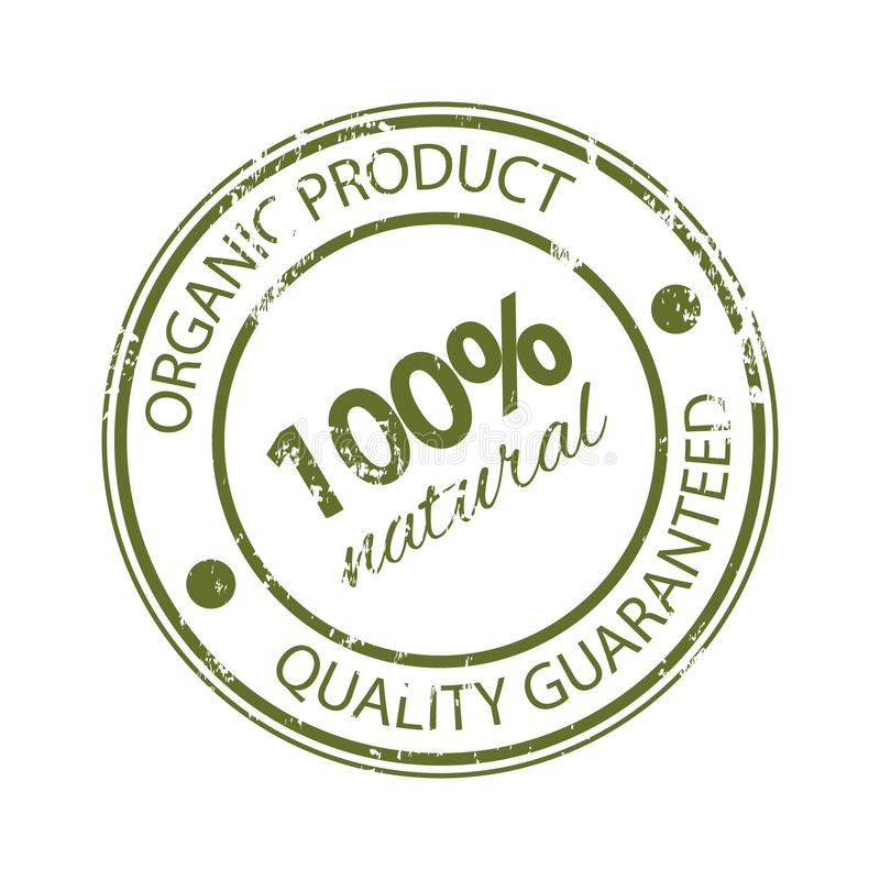 Rubber stamp 100% natural. Original product. Quality guaranteed. vector illustration