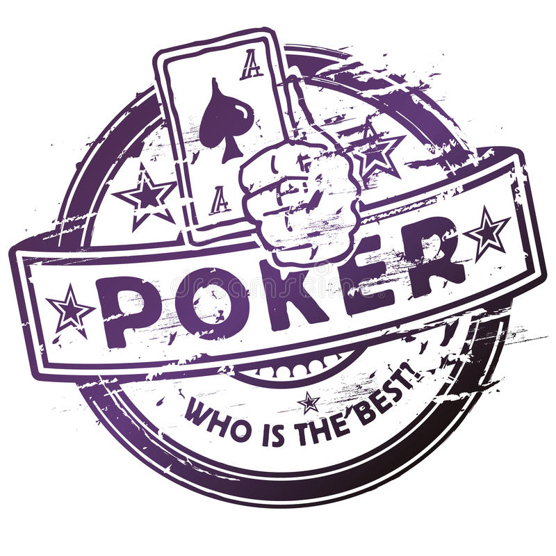 Rubber stamp with poker royalty free illustration