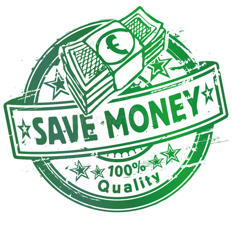 Rubber stamp with save money royalty free illustration
