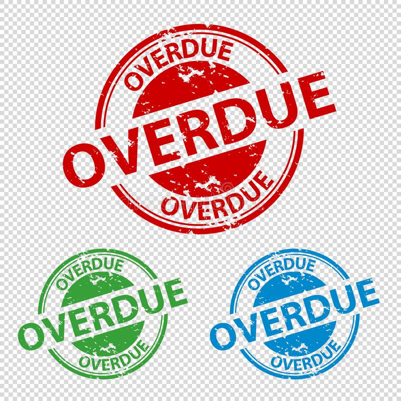 Rubber Stamp Seal Overdue - Vector Illustration - Isolated On Transparent Background stock illustration