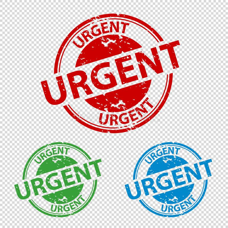 Rubber Stamp Seal Urgent - Vector Illustration - Isolated On Transparent Background royalty free illustration