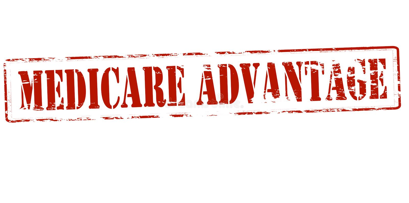 Medicare advantage. Rubber stamp with text medicare advantage inside, illustration royalty free illustration