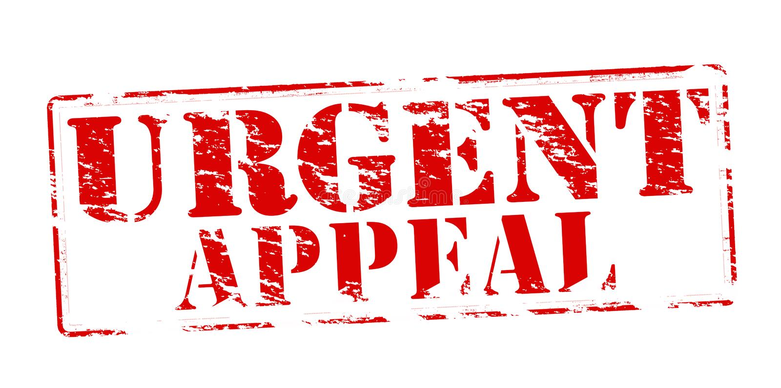 Urgent appeal. Rubber stamp with text urgent appeal inside, vector illustration stock illustration