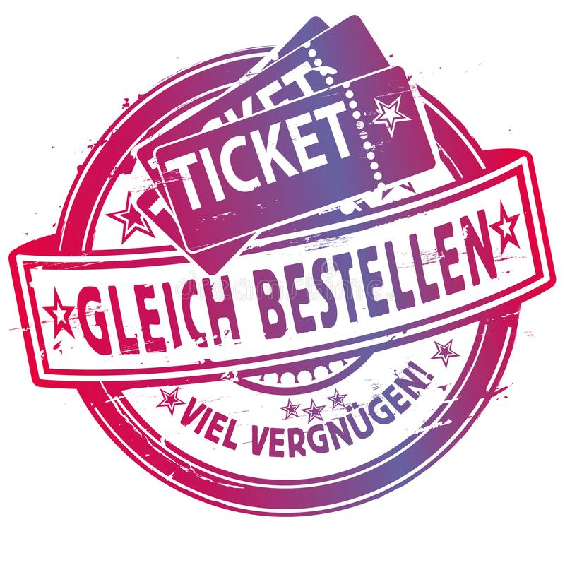 Rubber stamp with tickets royalty free illustration