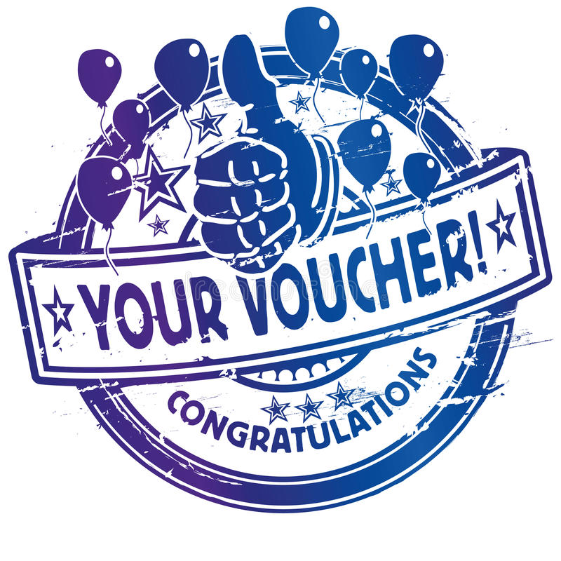 Rubber stamp with voucher stock illustration
