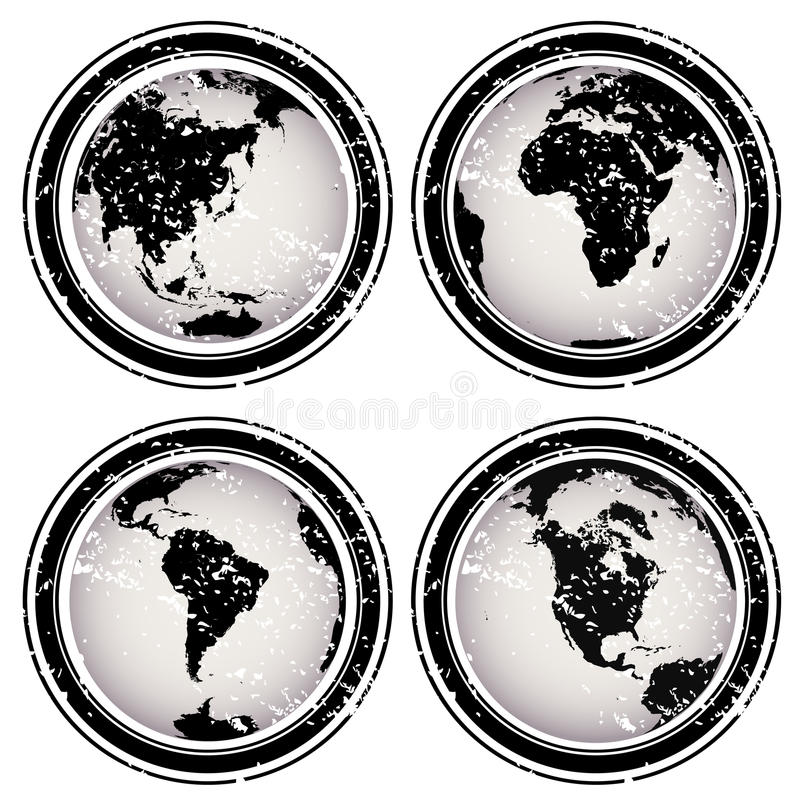 Download Rubber Stamps With Earth Globes Stock Photography - Image: 17251442