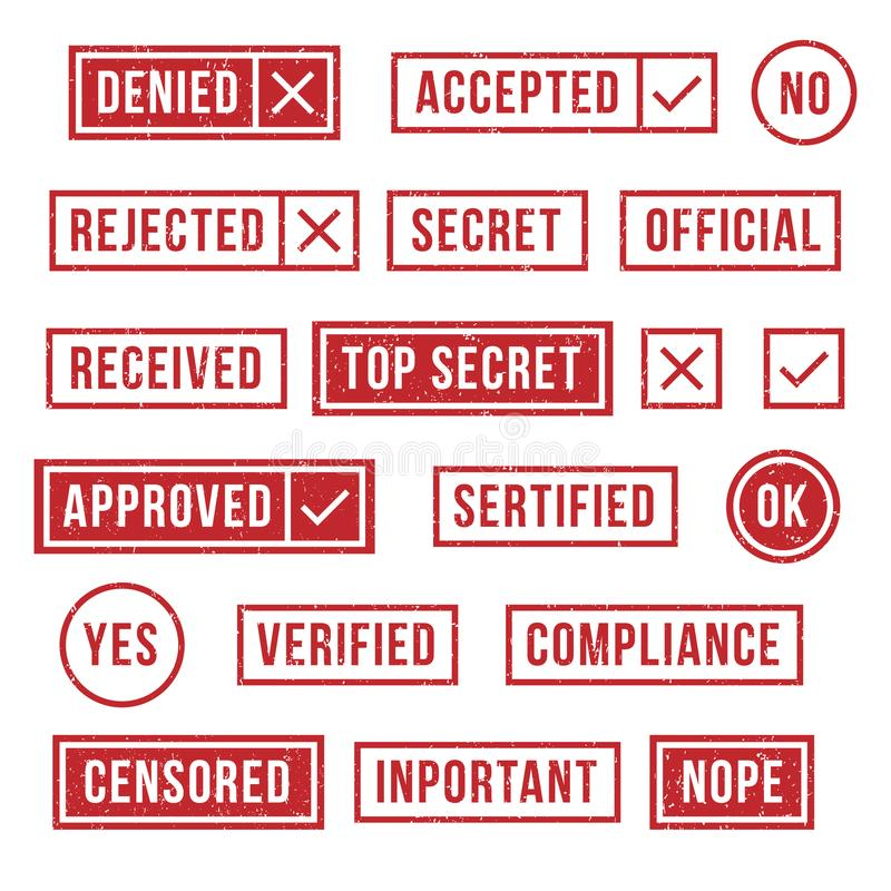 Rubber stamps. Official compliance resolution stamp, verified secret statues and accepted or rejected mark. Yes and no royalty free illustration