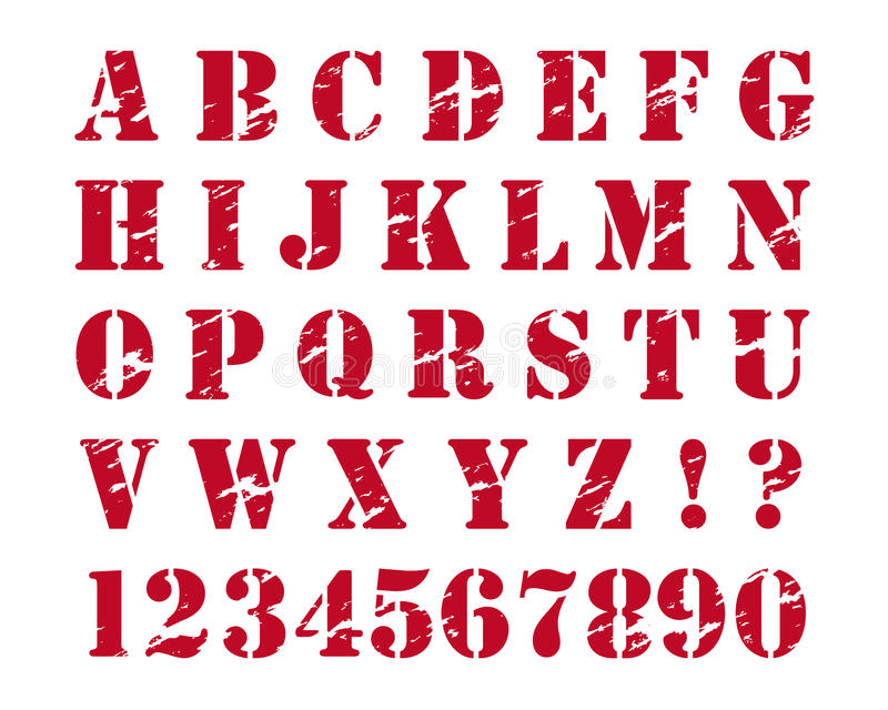 Rubber stamps style alphabet stock illustration