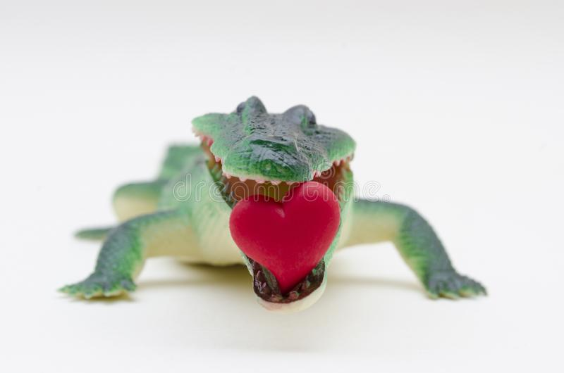 Rubber toy crocodile with a little red heart in the mouth. Against white background stock photo