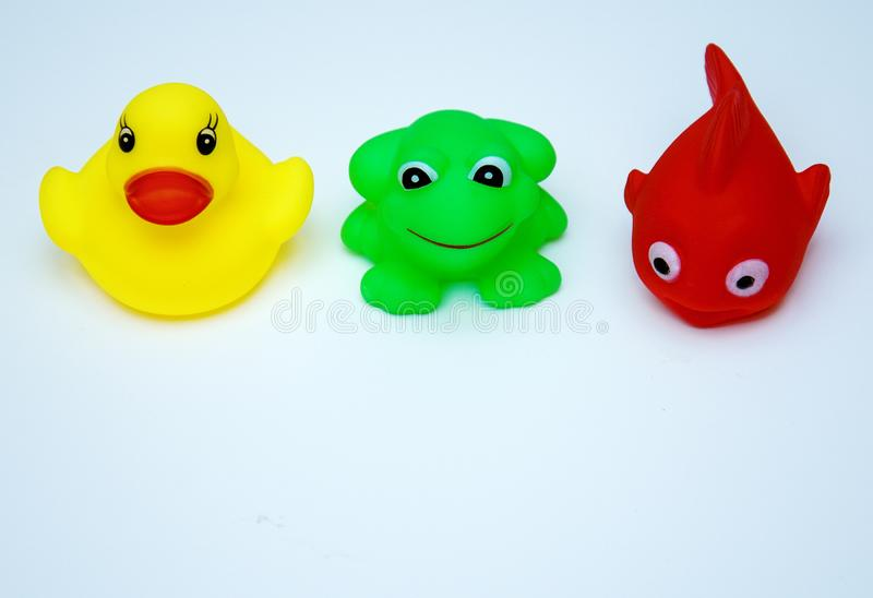 Rubber toys for swimming-fish, duck, frog stock photography