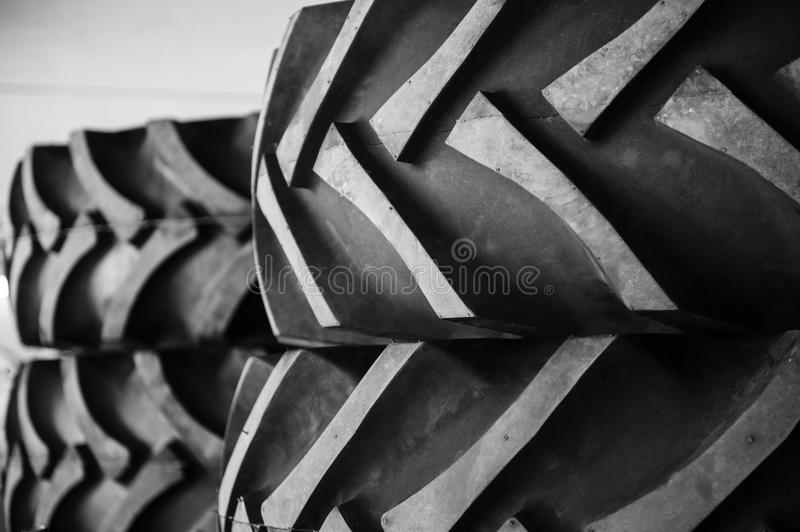 Rubber tractor tires stock image