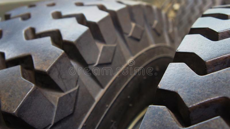 Rubber tyre detail. From large truck stock photo