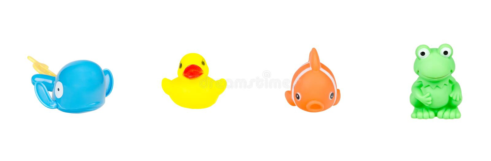 Rubber water toys collage. On white royalty free stock photography