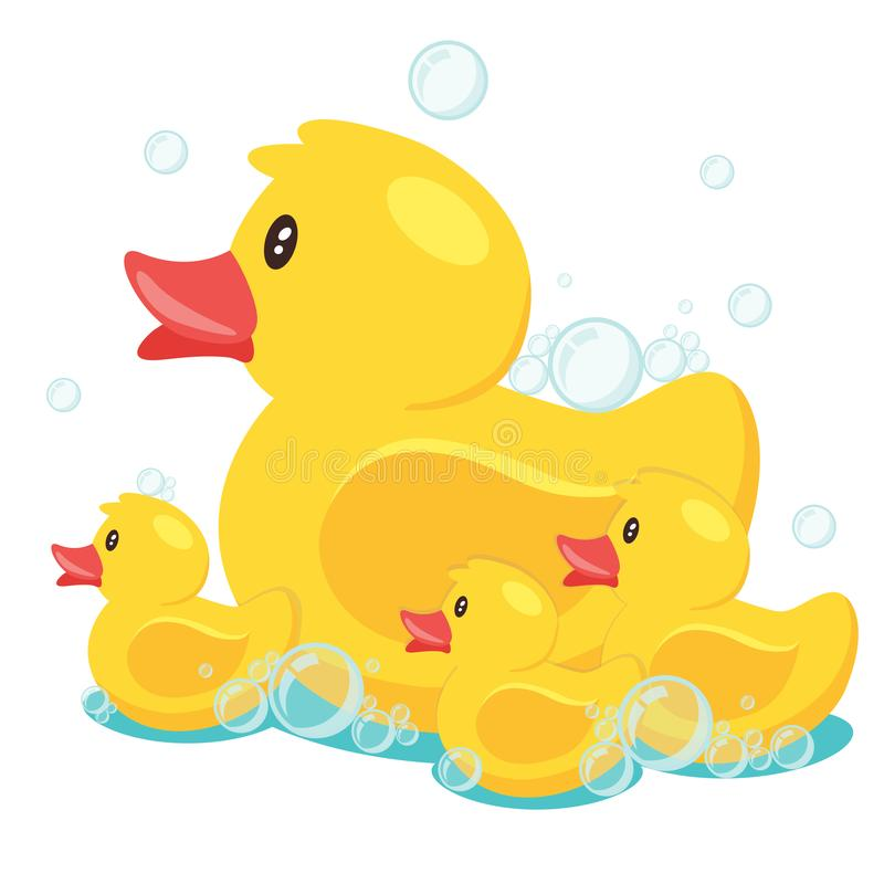 Rubber yellow ducks. Yellow cute cartoon rubber bath ducks family in blue water. vector illustration royalty free illustration