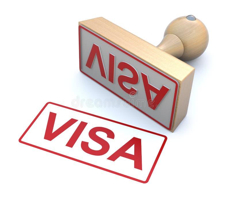Rubber zegel - Visum stock illustratie